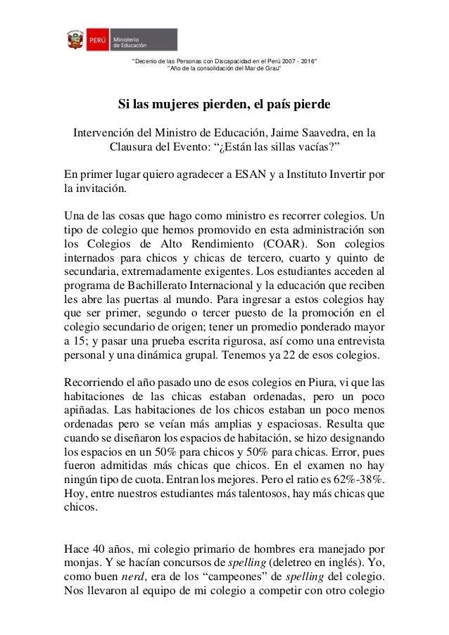 """""""Decenio de las Personas con Discapacidad en el Perú 2007 - 2016"""" """"Año de la consolidación del Mar de Grau"""" Si las mujeres..."""