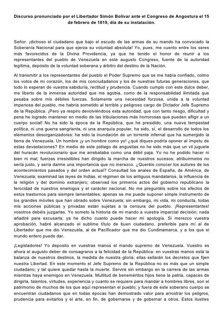 Discurso pronunciado por el Libertador Simón Bolívar ante el Congreso de Angostura el 15                       de febrero ...