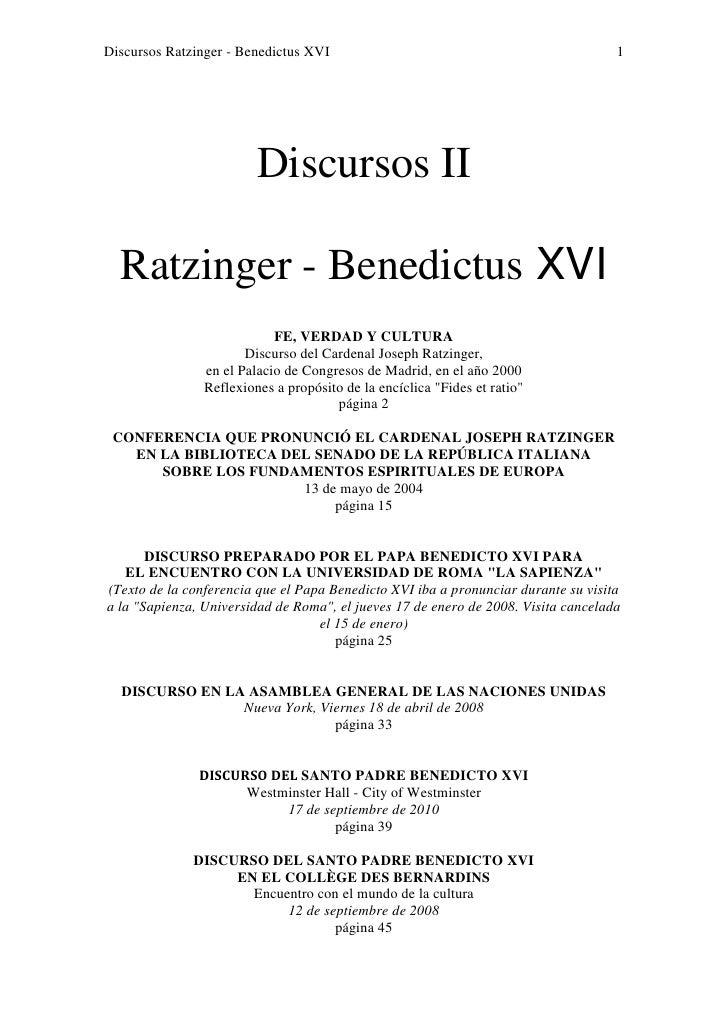 Discursos Ratzinger - Benedictus XVI                                                1                         Discursos II...