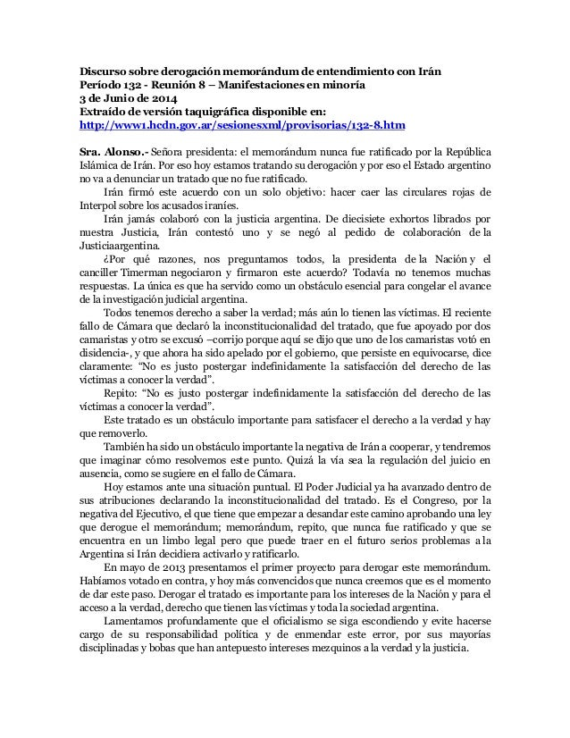Discurso sobre derogación memorándum de entendimiento con Irán Período 132 - Reunión 8 – Manifestaciones en minoría 3 de J...