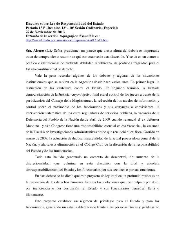 Discurso sobre Ley de Responsabilidad del Estado Período 131º -Reunión 12º - 10º Sesión Ordinaria (Especial) 27 de Noviemb...