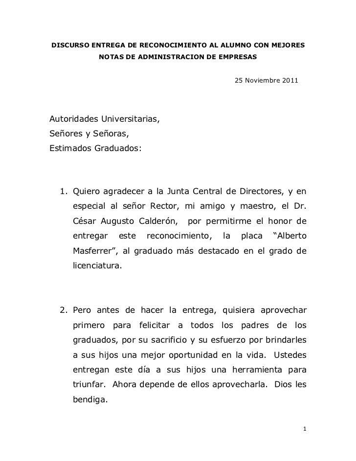 DISCURSO ENTREGA DE RECONOCIMIENTO AL ALUMNO CON MEJORES                   NOTAS DE ADMINISTRACION DE EMPRESAS            ...