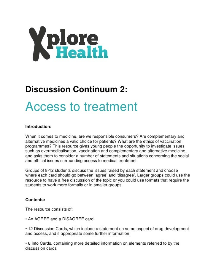 Discussion continuum - Access to treatment