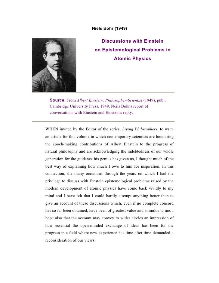 Niels Bohr (1949)                                Discussions with Einstein                            on Epistemological P...