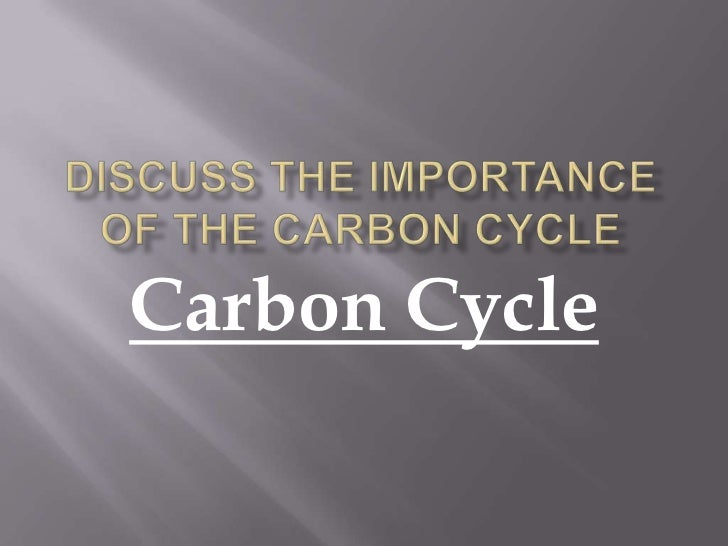 Discuss the importance of the carbon cycle<br />Carbon Cycle<br />
