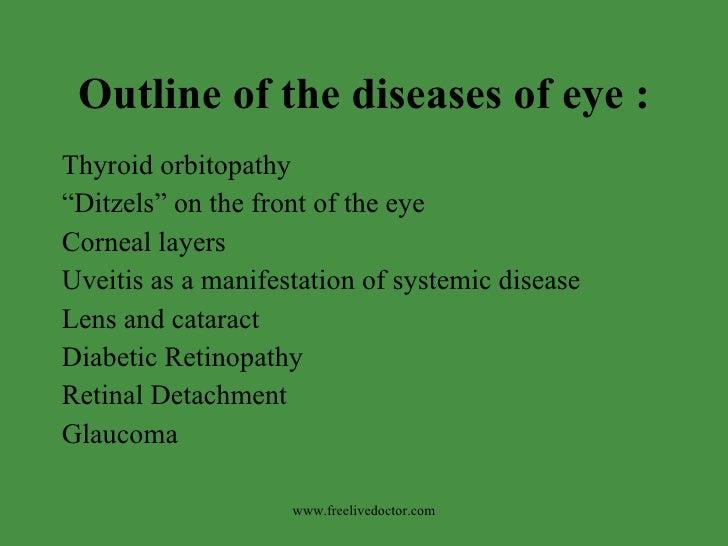 "Outline of the diseases of eye : <ul><li>Thyroid orbitopathy </li></ul><ul><li>"" Ditzels"" on the front of the eye </li></u..."