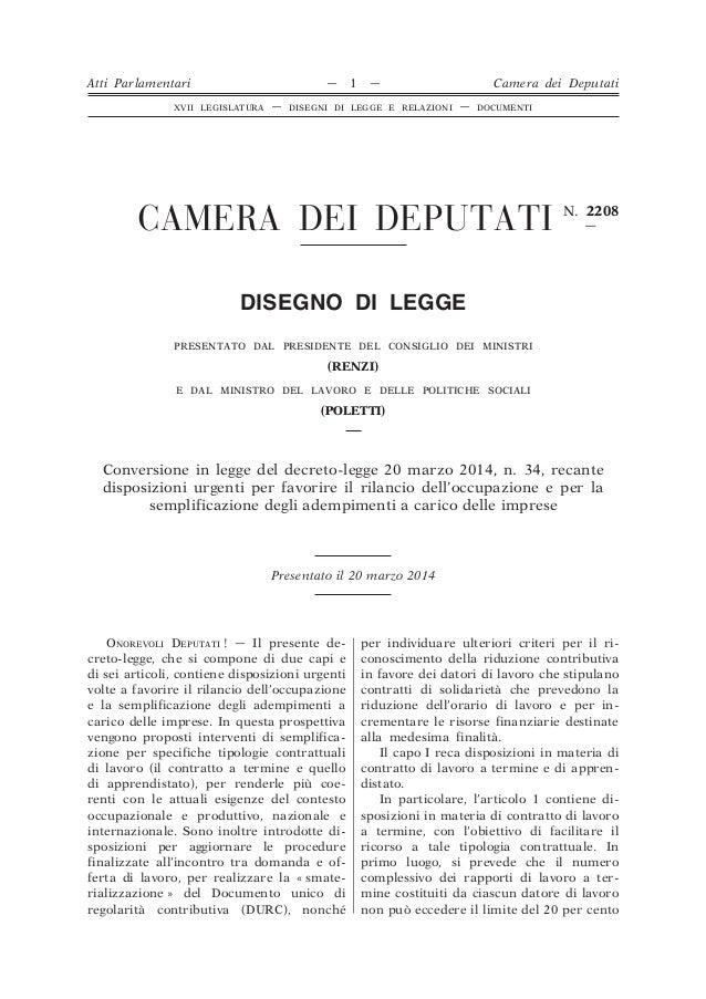 CAMERA DEI DEPUTATI N. 2208 — DISEGNO DI LEGGE PRESENTATO DAL PRESIDENTE DEL CONSIGLIO DEI MINISTRI (RENZI) E DAL MINISTRO...