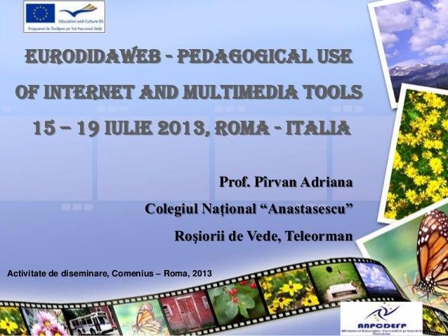 EURODIDAWEB - PEDAGOGICAL USE OF INTERNET AND MULTIMEDIA TOOLS 15 – 19 IULIE 2013, ROMA - ITALIA Prof. Pîrvan Adriana Cole...