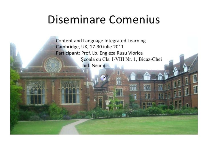 Diseminare Comenius<br />                                   Content and Language Integrated Learning<br />                ...
