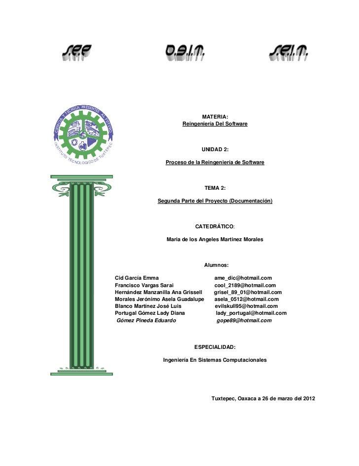 MATERIA:                                                                               Reingeniería Del SoftwareIN        ...