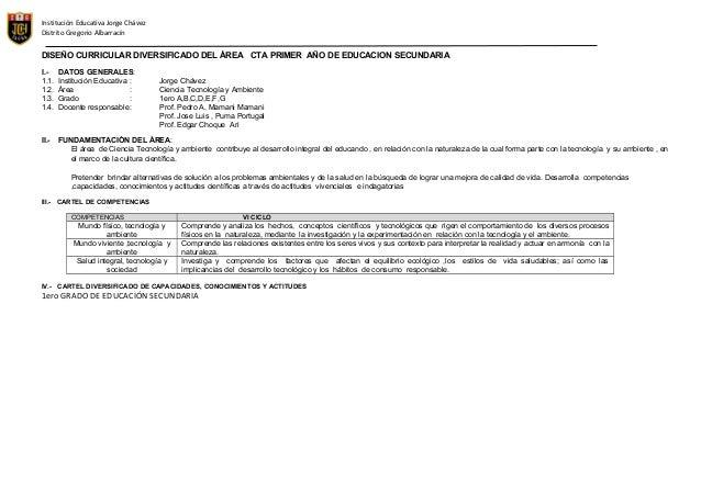 Institución Educativa Jorge Chávez Distrito Gregorio Albarracín  DISEÑO CURRICULAR DIVERSIFICADO DEL ÁREA CTA PRIMER AÑO D...