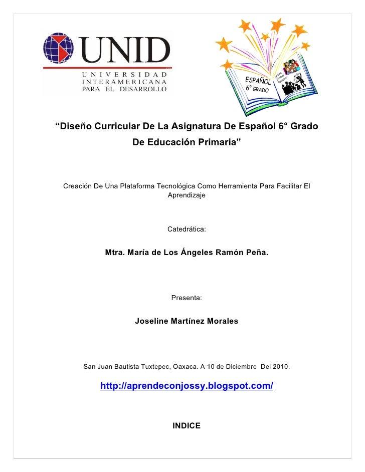 Diseño curricular de la asignatura de español 6° grado de educación primaria