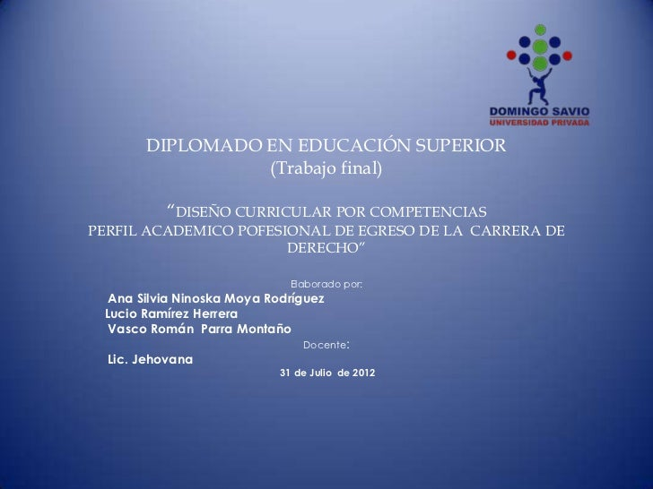 "DIPLOMADO EN EDUCACIÓN SUPERIOR                 (Trabajo final)          ""DISEÑO CURRICULAR POR COMPETENCIASPERFIL ACADEMI..."