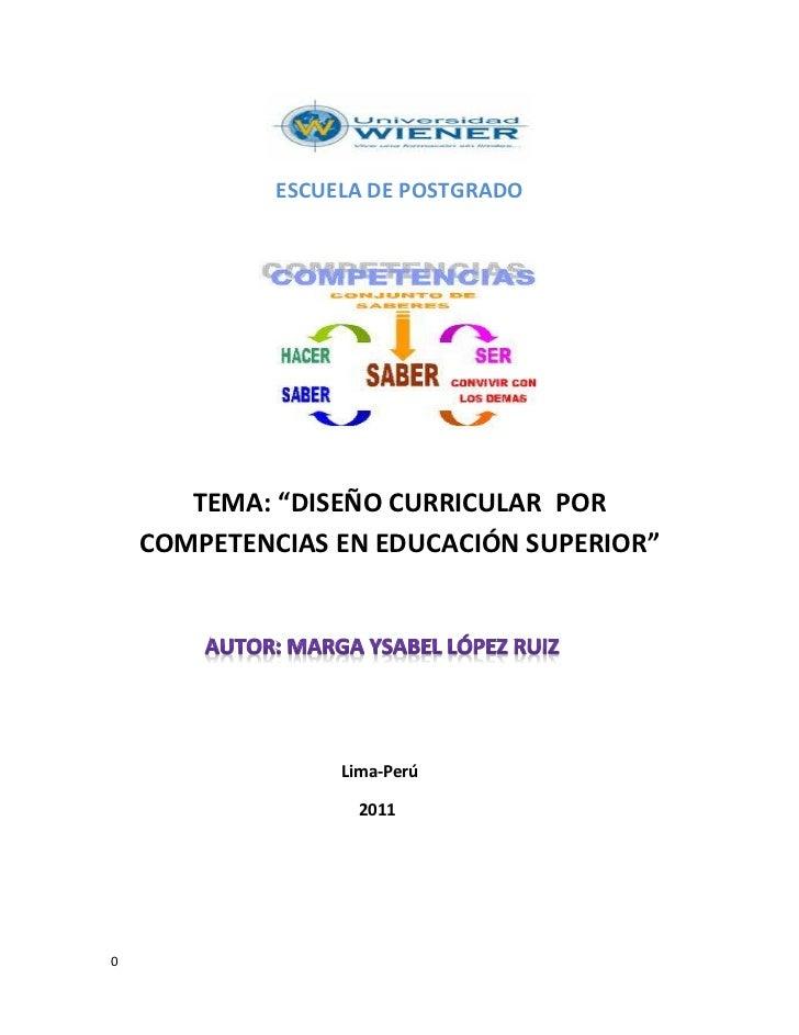DISEÑO CURRICULAR POR COMPETENCIAS EN EDUCACIÓN SUPERIOR