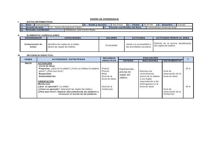DISEÑO DE APRENDIZAJE I.            DATOS INFORMATIVOS:        a.    Área:   Comunicación                                 ...
