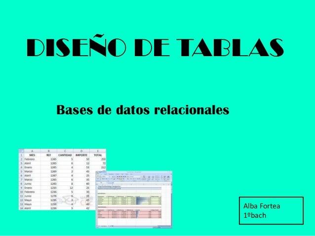 DISEÑO DE TABLASBases de datos relacionalesAlba Fortea1ºbach