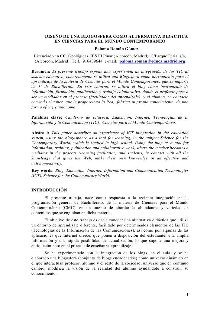 DISEÑO DE UNA BLOGOSFERA COMO ALTERNATIVA DIDÁCTICA            EN CIENCIAS PARA EL MUNDO CONTEMPORÁNEO                    ...
