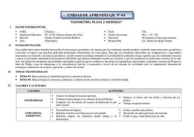 """UNIDAD DE APRENDIZAJE Nº 04 """"GEOMETRÍA PLANA Y MEDIDAS"""" I.  DATOS INFORMATIVOS: • • • •  II.  UGEL Institución Educativa D..."""