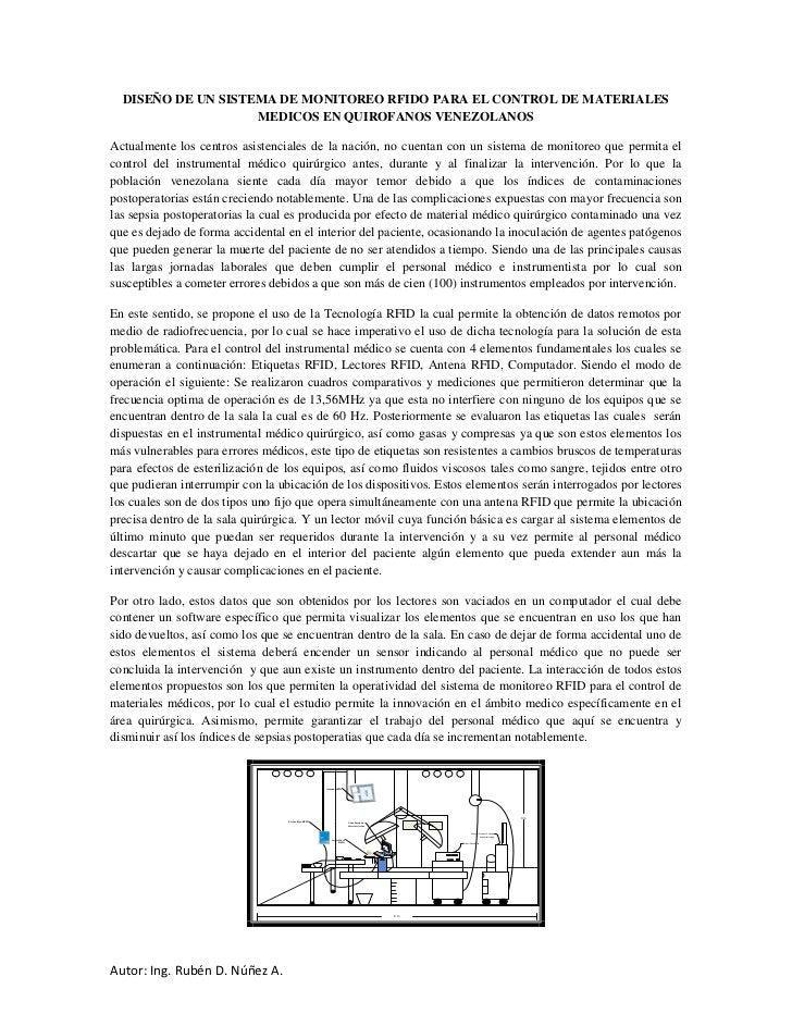 DISEÑO DE UN SISTEMA DE MONITOREO RFIDO PARA EL CONTROL DE MATERIALES                    MEDICOS EN QUIROFANOS VENEZOLANOS...