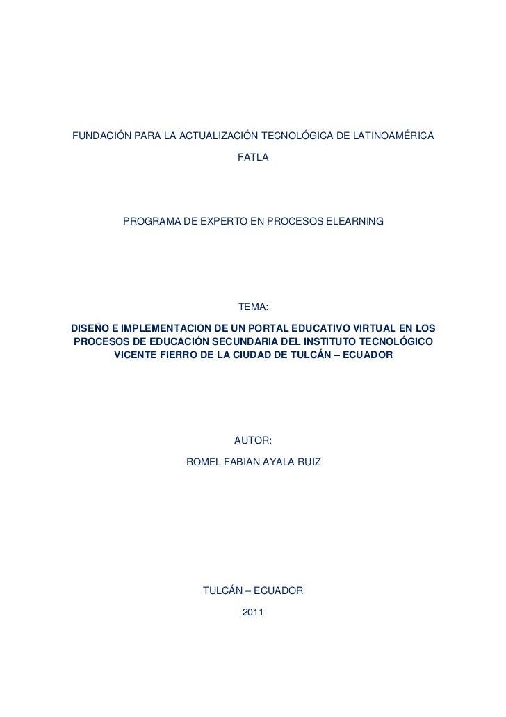 FUNDACIÓN PARA LA ACTUALIZACIÓN TECNOLÓGICA DE LATINOAMÉRICA                           FATLA        PROGRAMA DE EXPERTO EN...