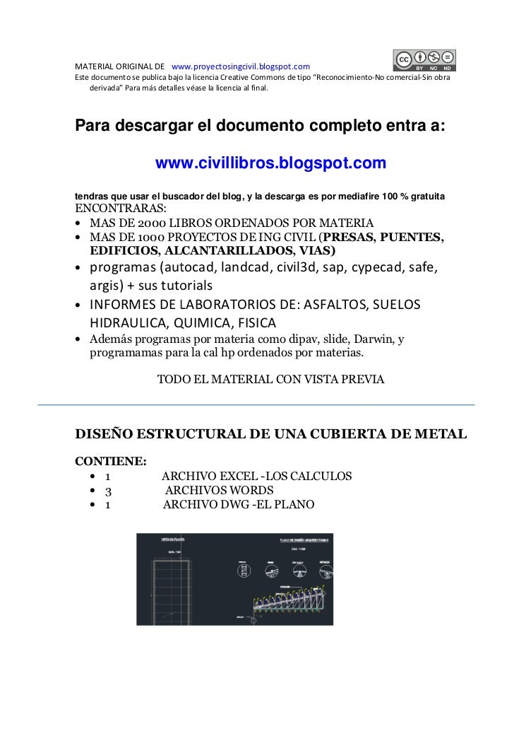 MATERIAL ORIGINAL DE www.proyectosingcivil.blogspot.comEste documento se publica bajo la licencia Creative Commons de tipo...
