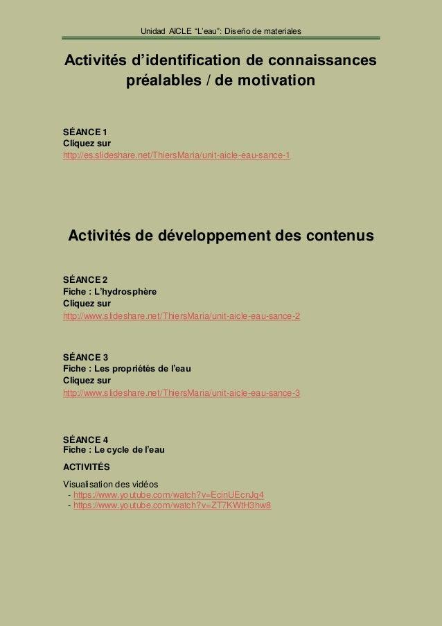 """Unidad AICLE """"L'eau"""": Diseño de materiales  Activités d'identification de connaissances  préalables / de motivation  SÉANC..."""