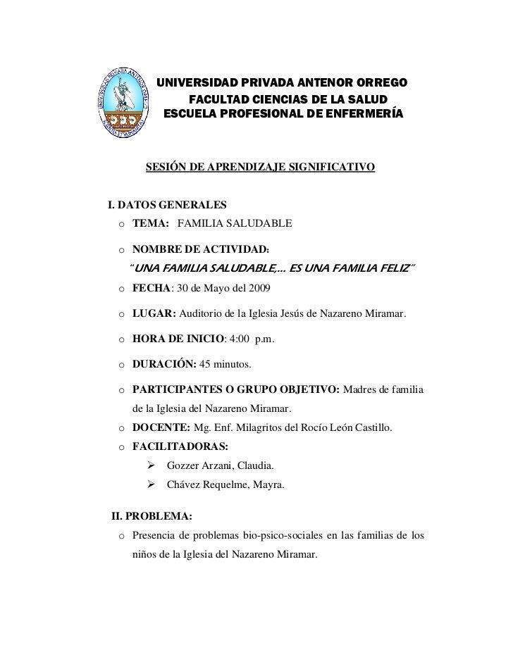 FAMILIA SALUDABLE:DISEÑO DE SESIÓN DE APRENDIZAJE