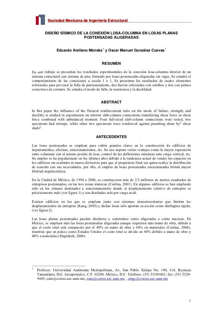 Sociedad Mexicana de Ingeniería Estructural         DISEÑO SÍSMICO DE LA CONEXIÓN LOSA-COLUMNA EN LOSAS PLANAS            ...