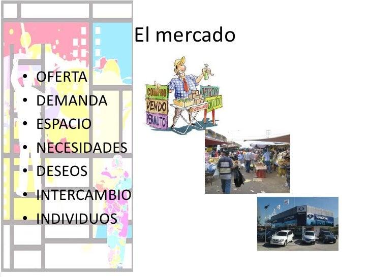 El mercado<br />OFERTA<br />DEMANDA<br />ESPACIO<br />NECESIDADES<br />DESEOS<br />INTERCAMBIO<br />INDIVIDUOS<br />
