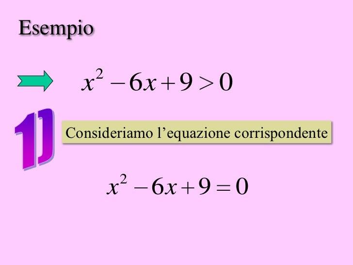 Esempio          2      x               6x 9 0    Consideriamo l'equazione corrispondente                  2              ...