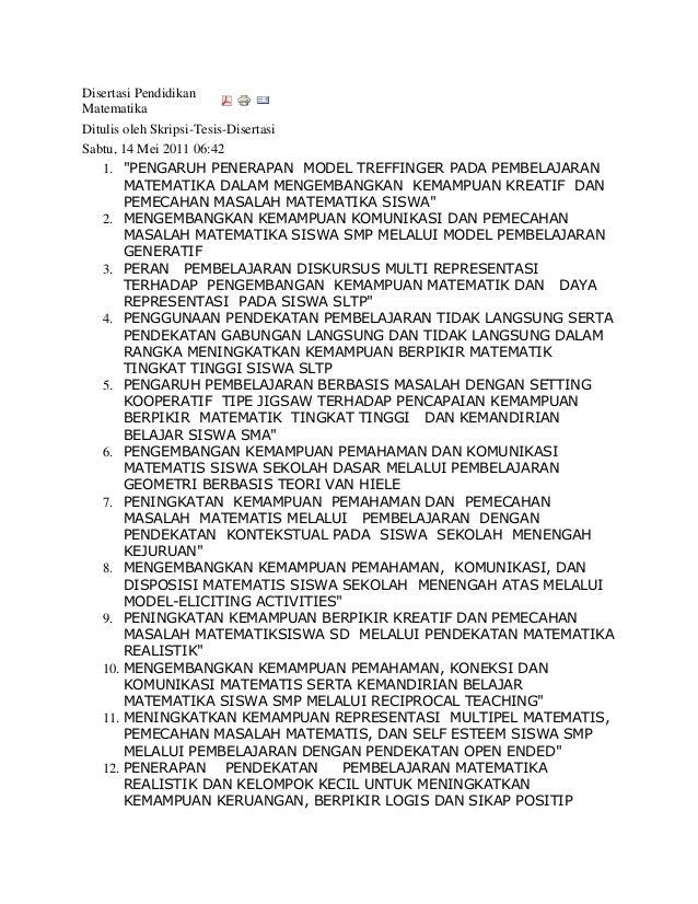 """Disertasi PendidikanMatematikaDitulis oleh Skripsi-Tesis-DisertasiSabtu, 14 Mei 2011 06:42   1. """"PENGARUH PENERAPAN MODEL ..."""