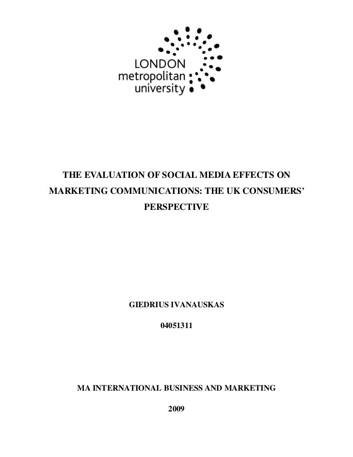Social Media in the UK - MA Dissertation