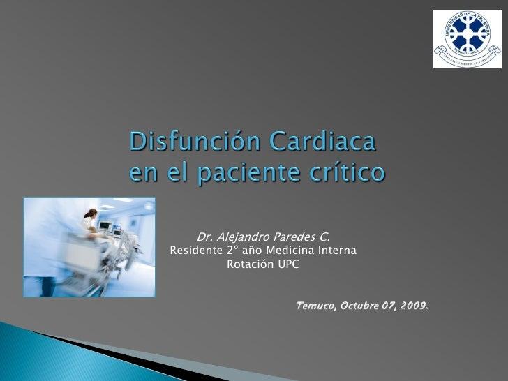 Disfunción Miocárdica en el paciente crítico