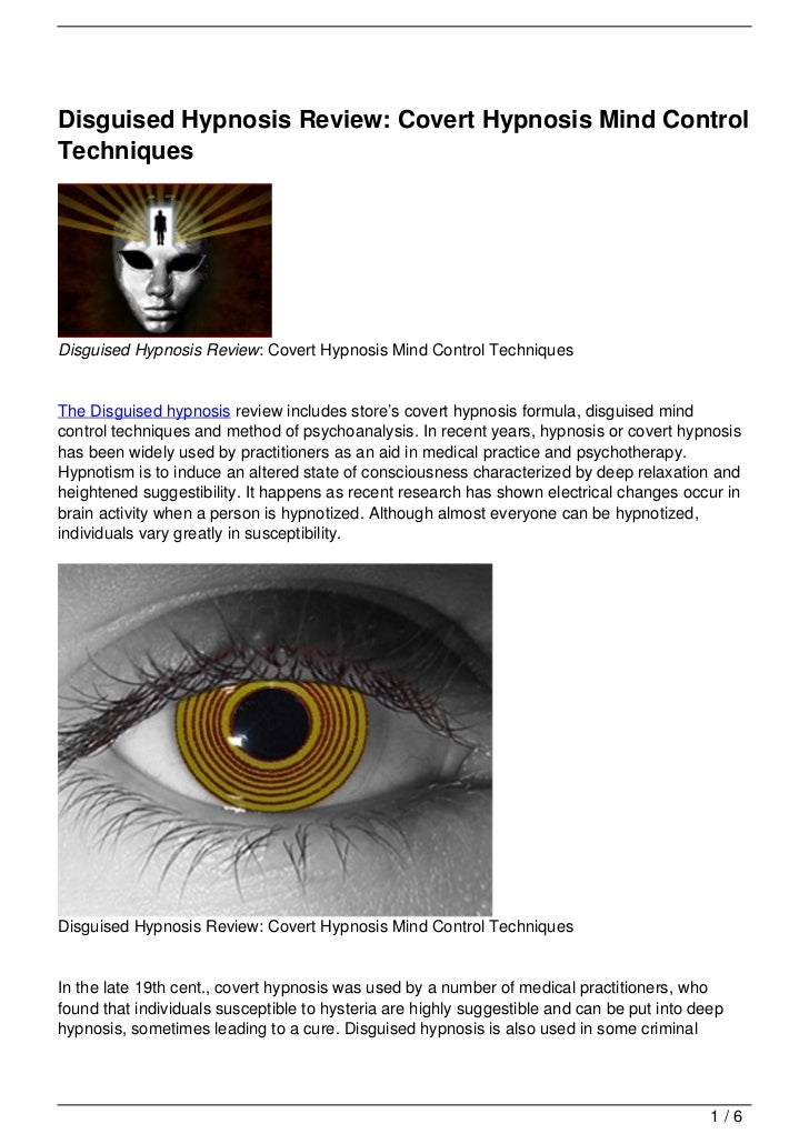 Disguised Hypnosis Review: Covert Hypnosis Mind Control Techniques