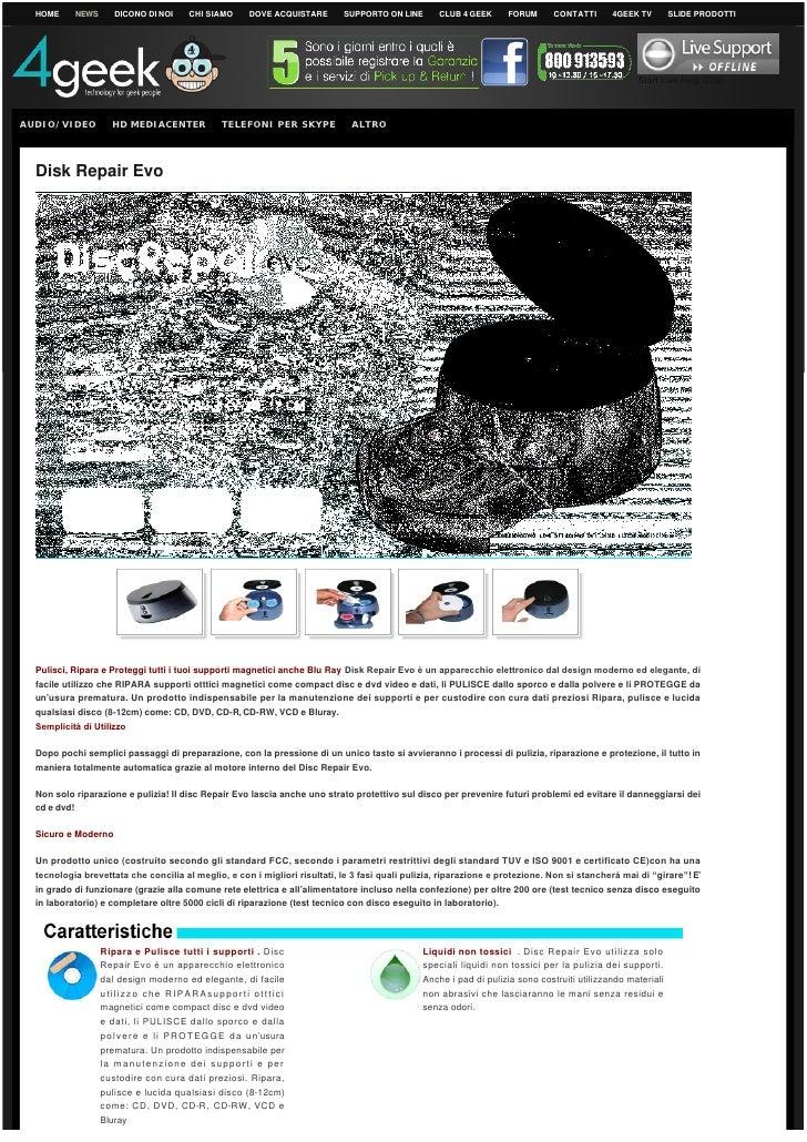 Riparatore Pulitore CD DVD DISC REPAIR EVO 4GEEK New Version