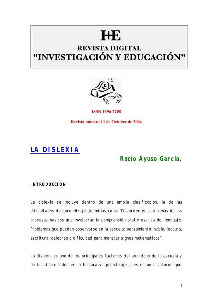 ISSN 1696-7208                    Revista número 11 de Octubre de 2004LA DISLEXIA                                         ...