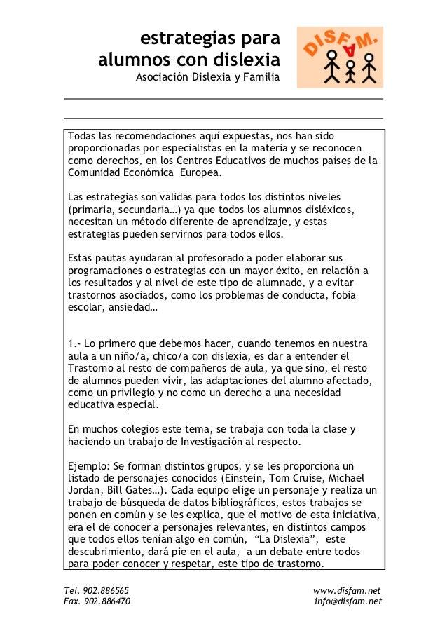 estrategias para       alumnos con dislexia                  Asociación Dislexia y FamiliaTodas las recomendaciones aquí e...