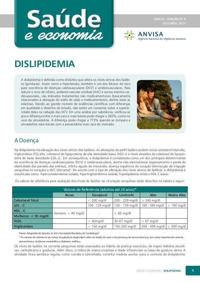 Saúde  ANO III – EDIÇÃO Nº 6 OUTUBRO, 2011  DISLIPIDEMIA A dislipidemia é definida como distúrbio que altera os níveis sér...