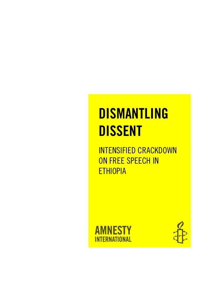 DISMANTLINGDISSENTINTENSIFIED CRACKDOWNON FREE SPEECH INETHIOPIA