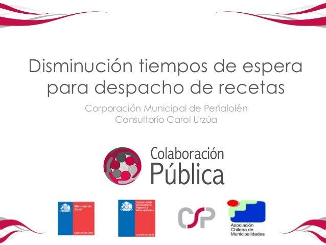 Disminución tiempos de espera  para despacho de recetas     Corporación Municipal de Peñalolén           Consultorio Carol...