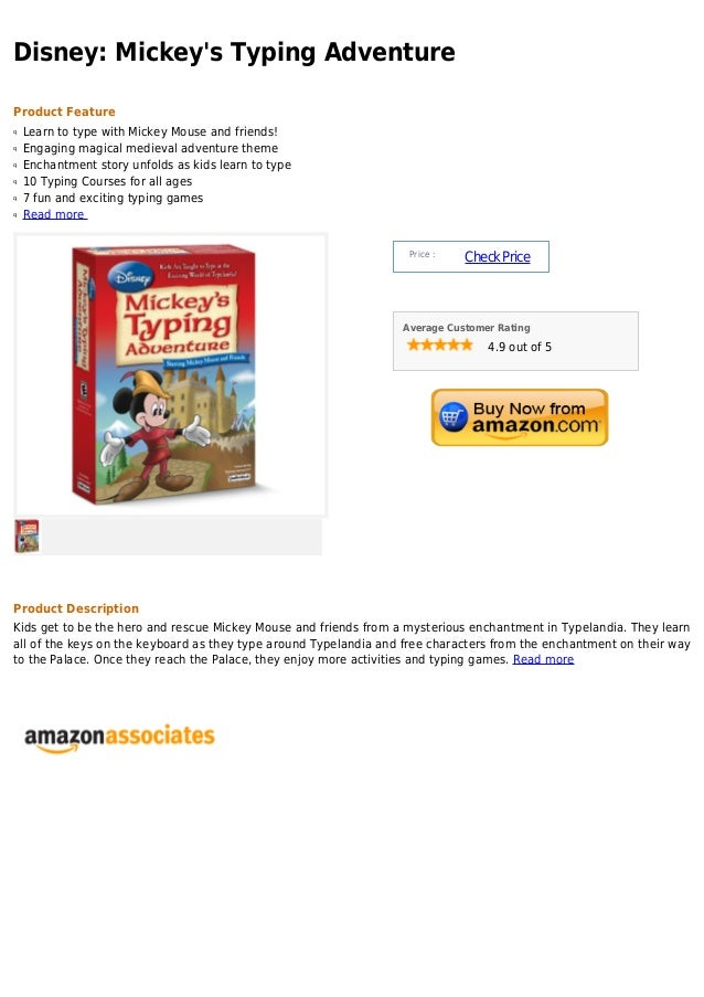 Disney: Mickey's Typing Adventure Product Feature Learn to type with Mickey Mouse and friends!q Engaging magical medieval ...