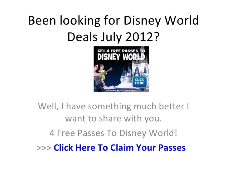 Been looking for Disney World       Deals July 2012? Well, I have something much better I         want to share with you. ...