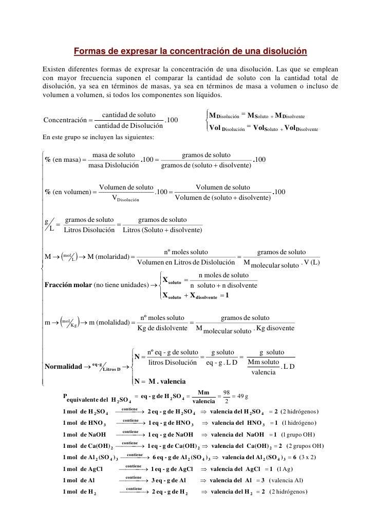 Formas de expresar la concentración de una disoluciónExisten diferentes formas de expresar la concentración de una disoluc...