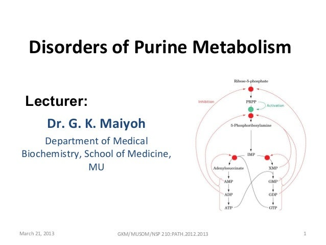 Disorders of Purine Metabolism  Lecturer:     Dr. G. K. Maiyoh     Department of MedicalBiochemistry, School of Medicine, ...