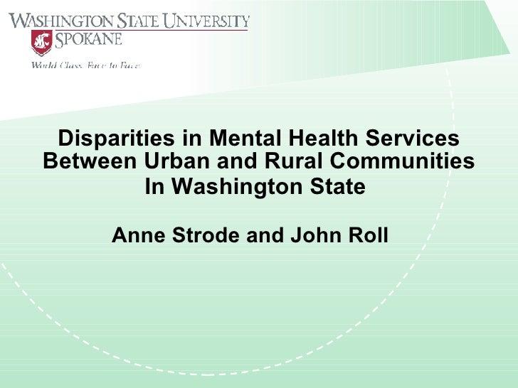 Disparities in Mental Health Services