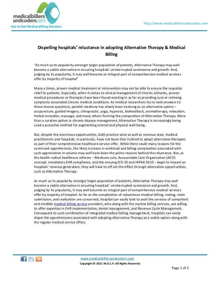 Dispelling hospitals' reluctance in adopting alternative therapy & medical billing