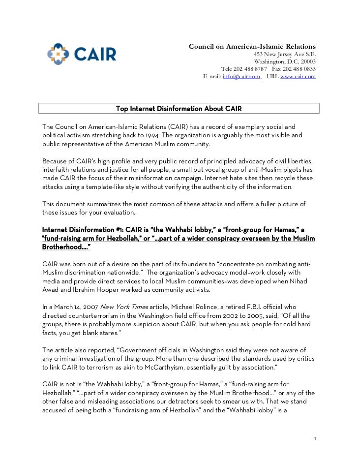 Dispelling rumors about_cair