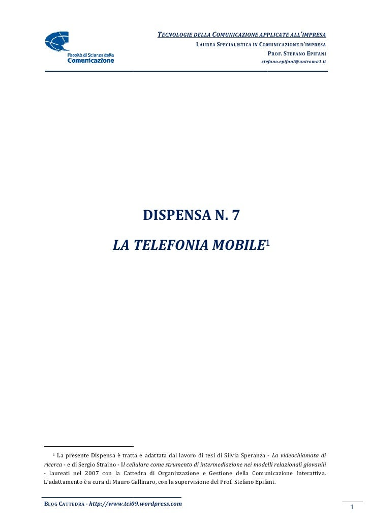 Dispensa 7   Telefonia Mobile