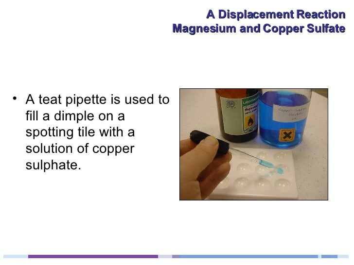 <ul><li>A teat pipette is used to fill a dimple on a spotting tile with a solution of copper sulphate. </li></ul>