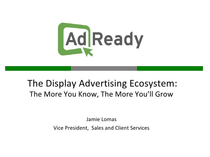 Jamie Lomas Vice President,  Sales and Client Services The Display Advertising Ecosystem: The More You Know, The More You'...